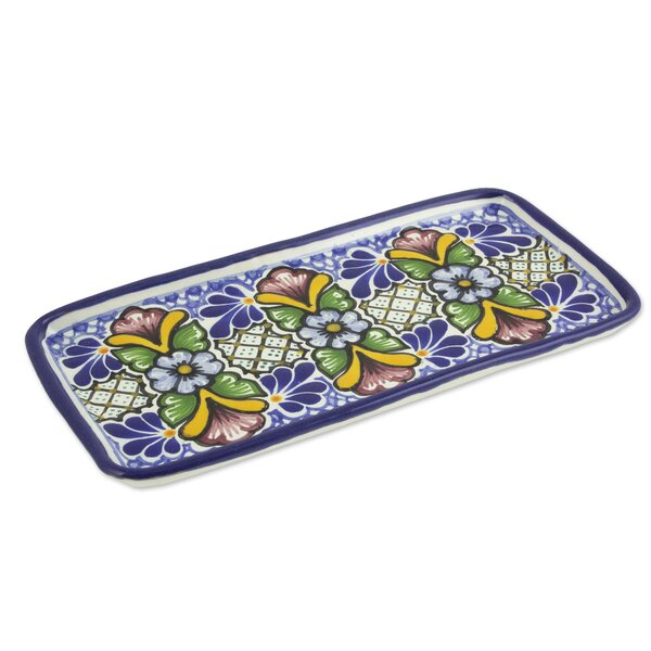 Floral Artisan Crafted Ceramic Serving Plate by Novica