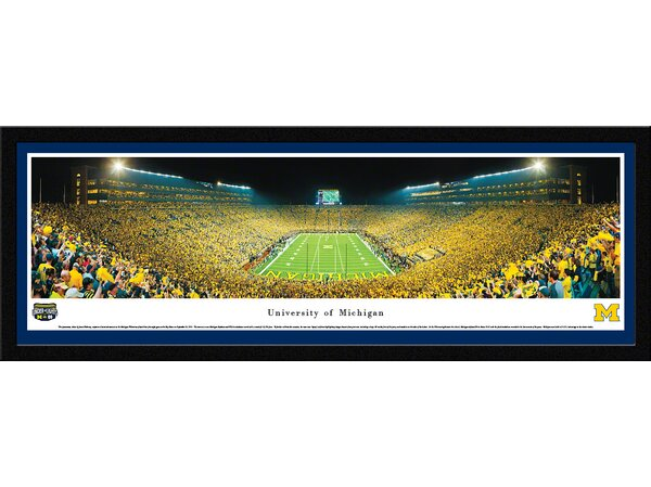 NCAA Michigan, University of - Under The Lights - 2011 End Zone by James Blakeway Framed Photographic Print by Blakeway Worldwide Panoramas, Inc