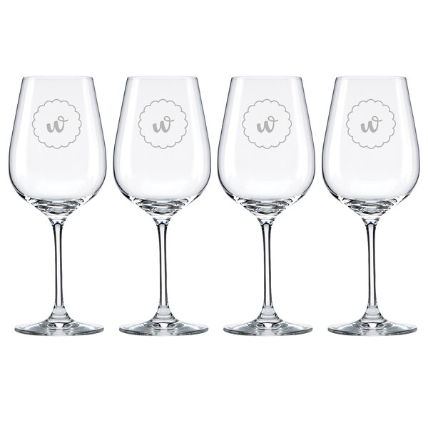 Navy Scallop Tuscany Monogram Pinot Grigio 16 Oz. White Wine Glass (Set of 4) by Lenox