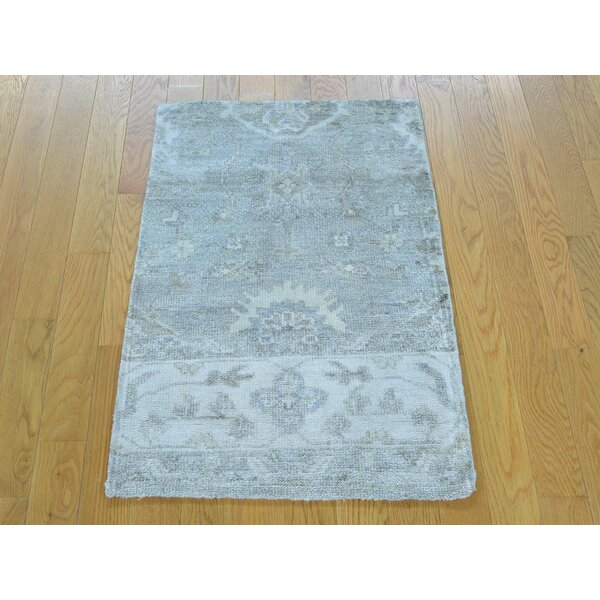One-of-a-Kind Bearer Art Stone Wash Hand-Knotted Silk Area Rug by Isabelline