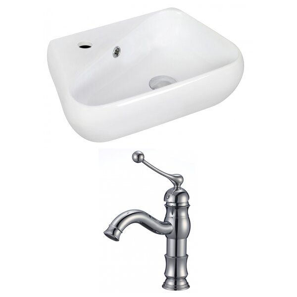 Ceramic 17.5 Wall Mount Bathroom Sink with Faucet and Overflow by Royal Purple Bath Kitchen