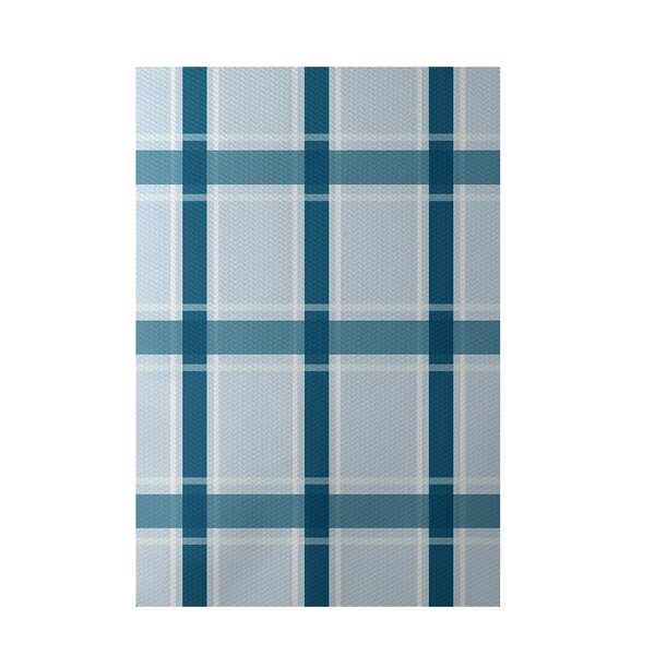 Plaid Hand-Woven Light Blue/Teal Indoor/Outdoor Area Rug by e by design