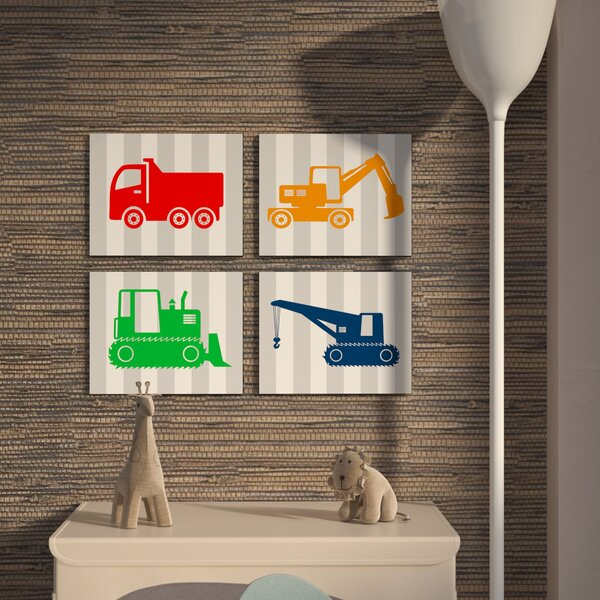 Stella Construction Vehicles on Stripes 4 Piece Wall Plaque Set by Viv + Rae
