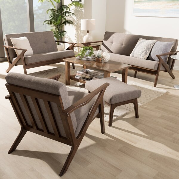 Wojtala Mid-Century Modern 4 Piece Living Room Set by Union Rustic