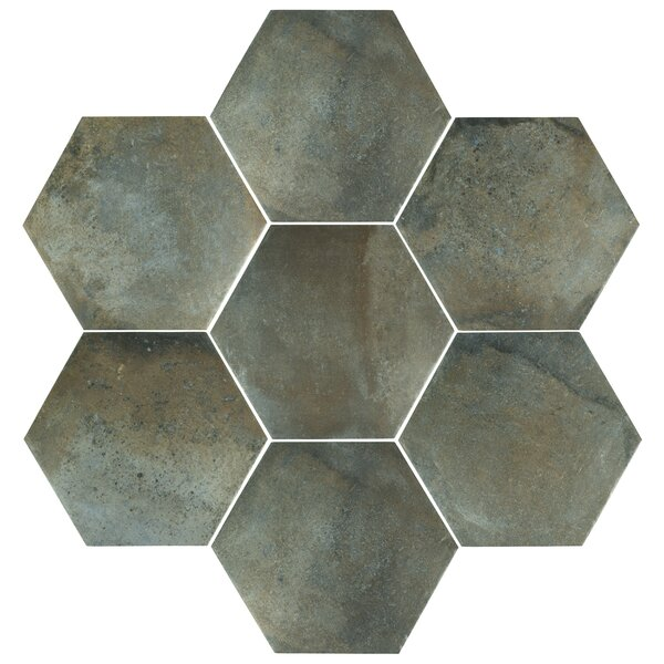 Victoria Ferro Hex 14.13 x 16.25 Porcelain Field Tile in Greige by EliteTile