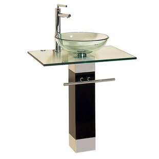 Glass Circular Vessel Bathroom Sink with Faucet and Pedestal by Kokols