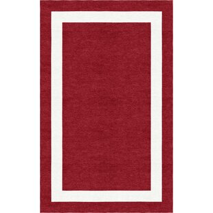 Best Volk Border Hand-Tufted Wool Wine Red/White Area Rug By Red Barrel Studio
