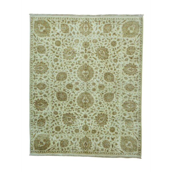 One-of-a-Kind Fruge Tabriz Floral Revival Hand-Knotted Ivory Area Rug by World Menagerie