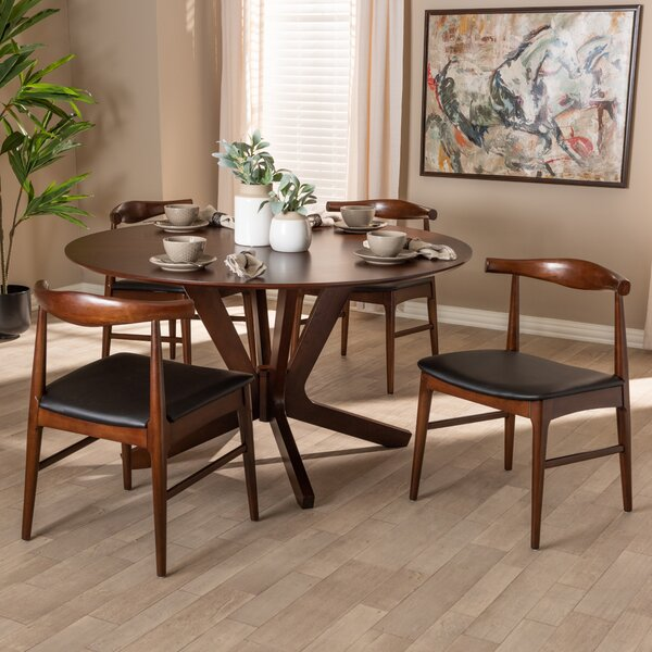 Southard Mid-Century Modern Upholstered 5 Piece Dining Set by Ivy Bronx