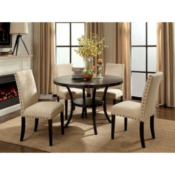 Duguay Transitional Round 5 Piece Solid Wood Dining Set by Gracie Oaks