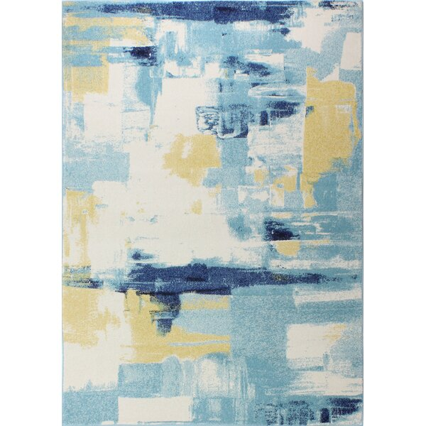 Reasor Ivory/Blue Area Rug by Wrought Studio