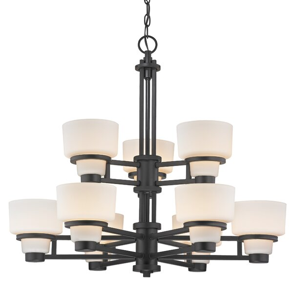 Saxon 9-Light Shaded Tiered Chandelier By Dolan Designs