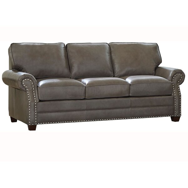 Pedigo Genuine Leather 84 Rolled Arm Sofa Bed