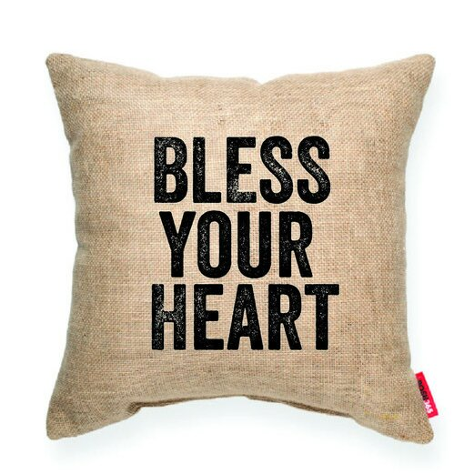 Expressive Bless Your Heart Decorative Burlap Throw Pillow by Posh365