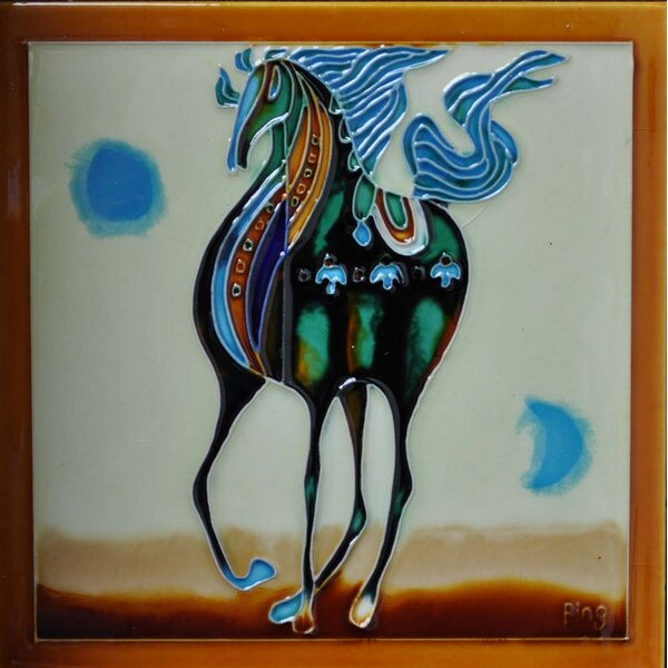 Standing Horse Tile Wall Decor by Continental Art Center