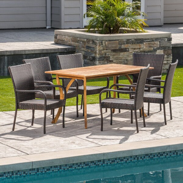 Hephaestus Outdoor Acacia Wood/Wicker 7 Piece Dining Set by Wrought Studio