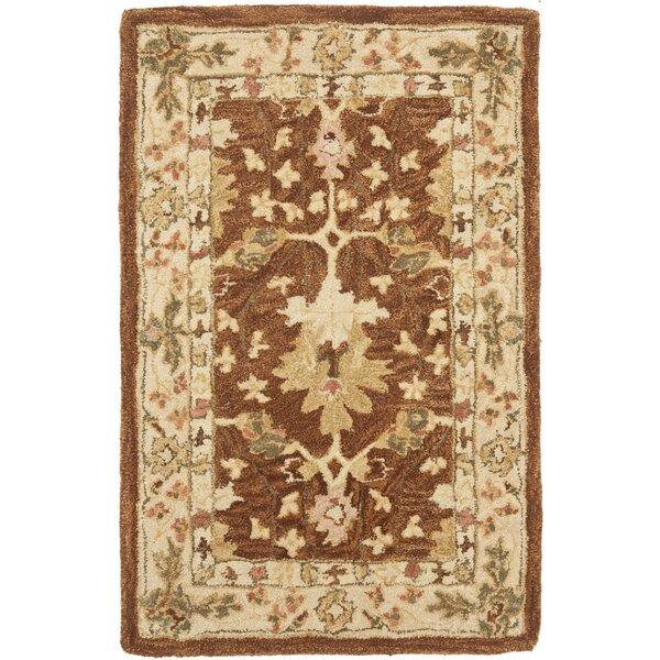 Anatolia Hand-Woven Wool Brown/Cream Area Rug by Safavieh