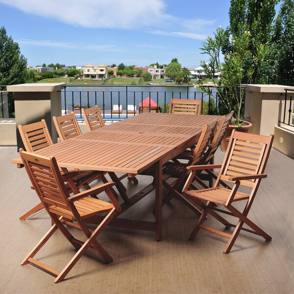 Elvia 9 Piece Wood Dining Set by Rosecliff Heights