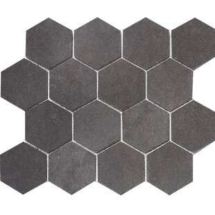 Lava Hexagon 3 X Stone Mosaic Tile In Black Honed