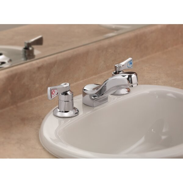 M-Dura Widespread Bathroom Faucet With Drain Hole By Moen