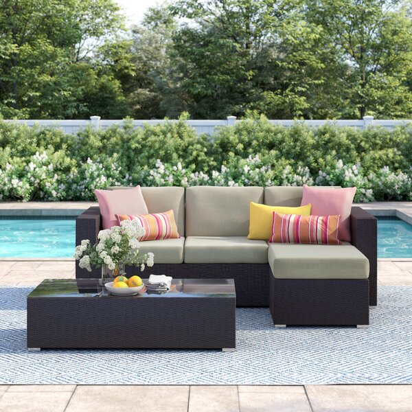 Brentwood 3 Piece Rattan Sectional Seating Group with Cushion by Sol 72 Outdoor
