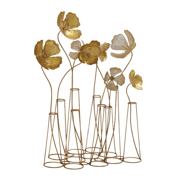 Gold Metal Wall Decor latitude run gold metal flower table wall decor & reviews | wayfair
