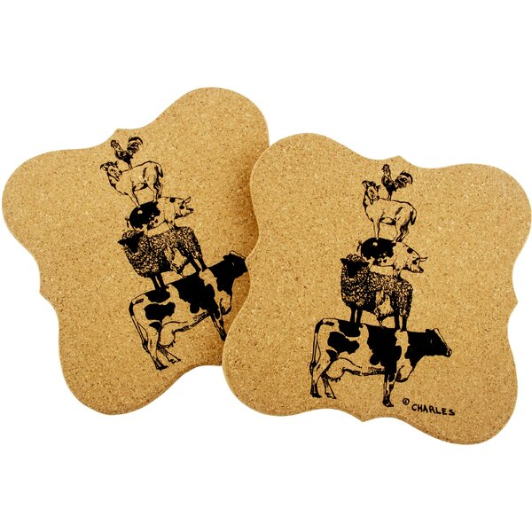 Burgoyne Stacked Animals Shaped Cork Trivet (Set of 2) by Gracie Oaks