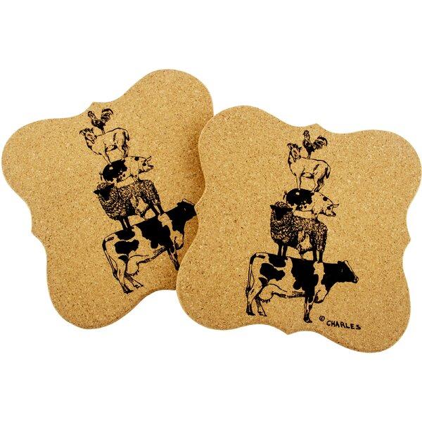 Burgoyne Stacked Animals Shaped Cork Trivet (Set of 2) by Gracie Oaks