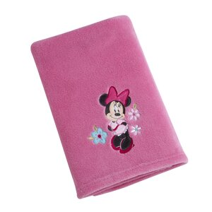 Minnie Solid Coral Fleece Blanket with Applique