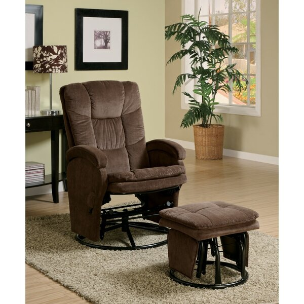 Tanis Extra Relaxing Manual Swivel Glider Recliner with Ottoman Red Barrel Studio BNZB1760
