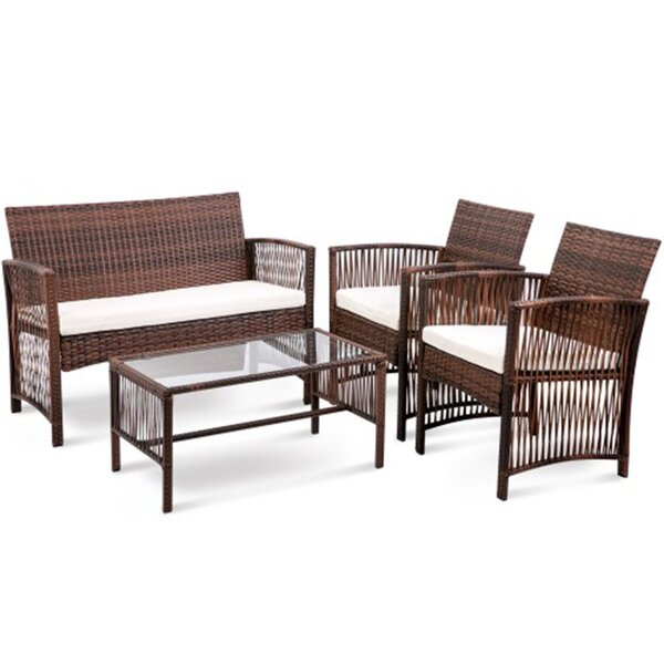 Edmonson 4 Piece Sofa Seating Group with Cushions by Bay Isle Home
