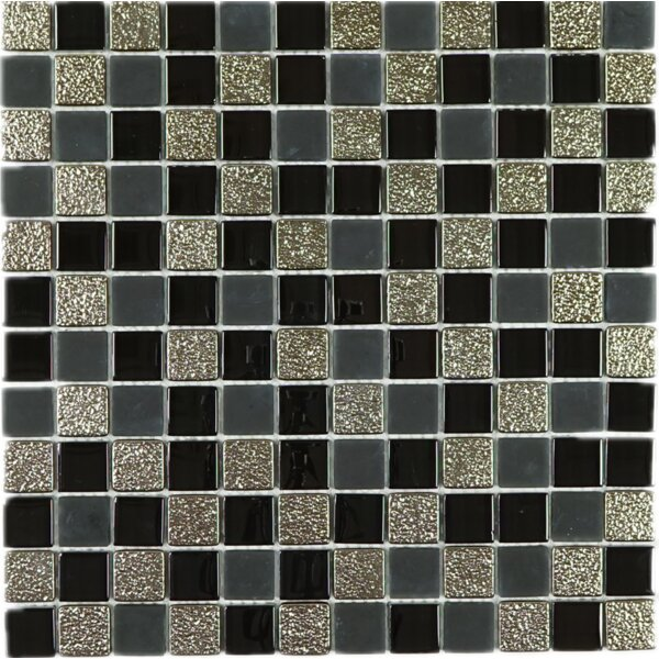 1 x 1 Glass Tile in Black by Multile