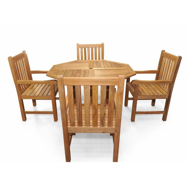 Edgartown 5 Piece Teak Dining Set by Rosecliff Heights