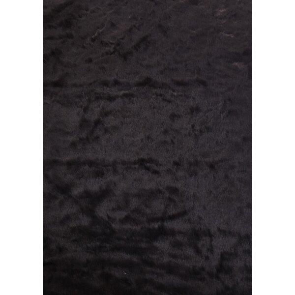 Tegan Faux Fur Black Area Rug by Rosdorf Park