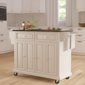Kitchen Island Images white kitchen islands & carts you'll love | wayfair