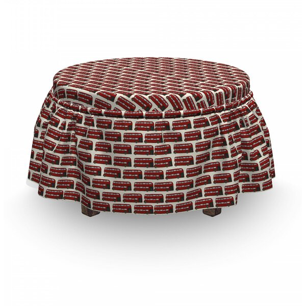 London Cartoon Double Decker 2 Piece Box Cushion Ottoman Slipcover Set By East Urban Home