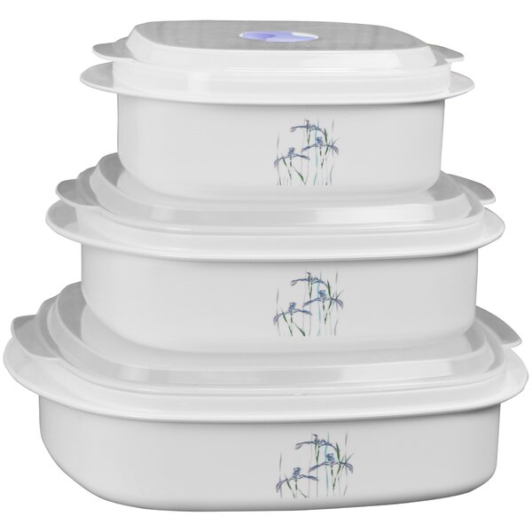 Corelle Coordinates Microwave Cookware 3 Container Food Storage Set by Corelle