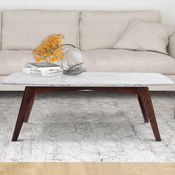 Hilma Rectangular Italian Carrara White Marble Table Coffee Table by Ivy Bronx Ivy Bronx