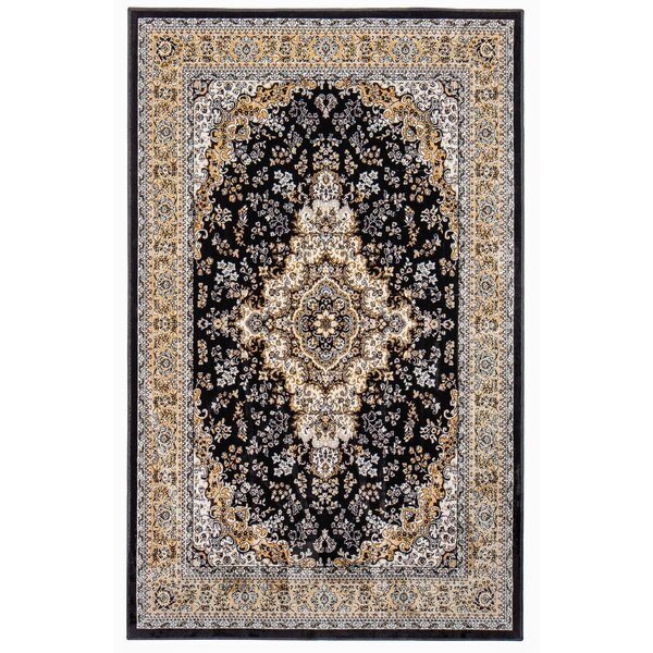 Rowes Black/Beige Area Rug by Bloomsbury Market