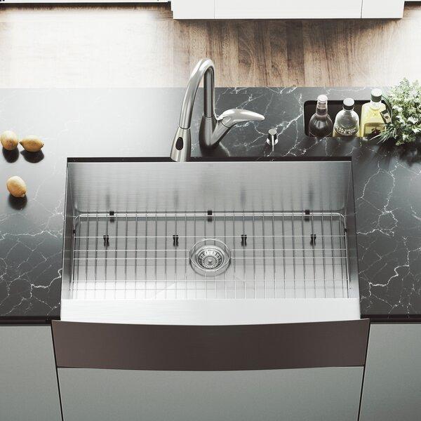 33 L x 22.25 W Single Bowl 16 Gauge Farmhouse Kitchen Sink with Romano Faucet, Grid, Strainer and Soap Dispenser by VIGO
