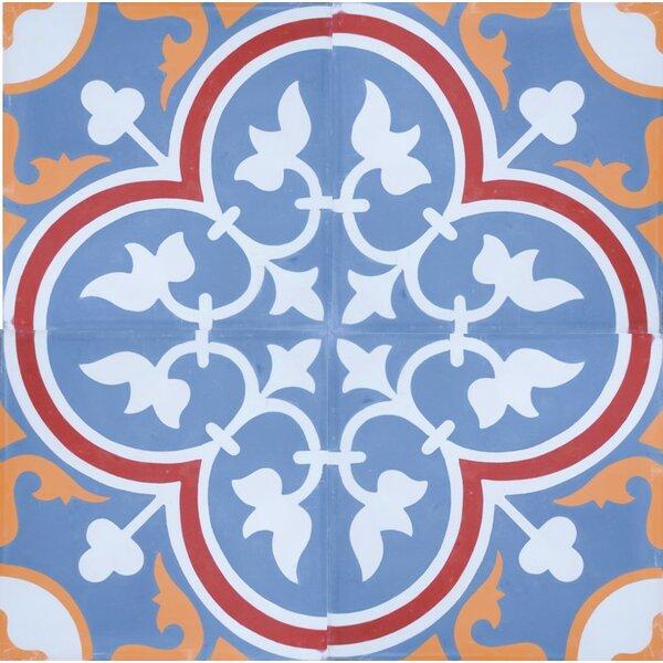 8 x 8 Roseton Cement Decorative Concrete Tile in Blue/White (Set of 4) by Rustico Tile & Stone