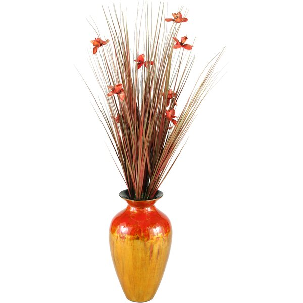 Ting with Blossoms Spun Bamboo Floral Arrangements in Vase by D & W Silks