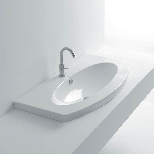 Ago Ceramic Oval Drop-In Bathroom Sink with Overflow