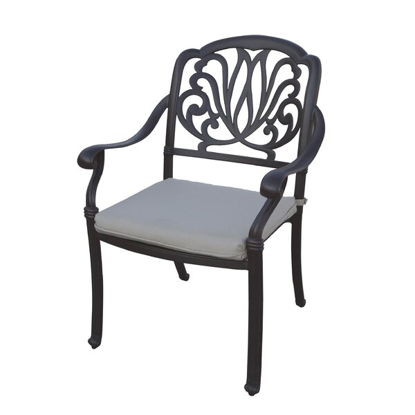 Lyndhurst Stacking Patio Dining Chair with Cushion (Set of 4) by Fleur De Lis Living