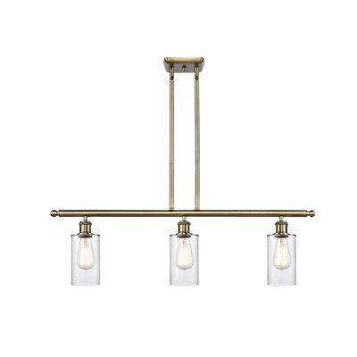Garney 3 Light Kitchen Island Cylinder Pendant Mercer41 Finish Antique Brass Shade Color Clear Bulb Type Incandescent Shefinds
