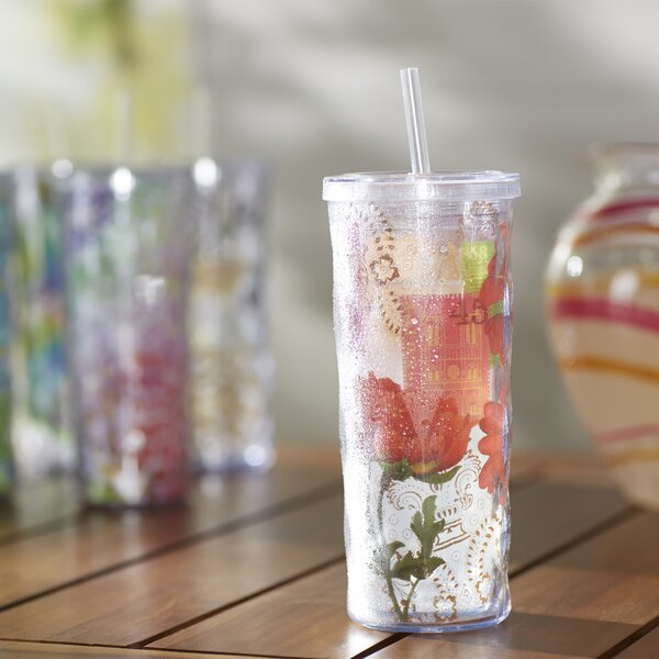 Coriandre Botanical Garden 16 oz. Plastic Travel Tumbler by Lark Manor