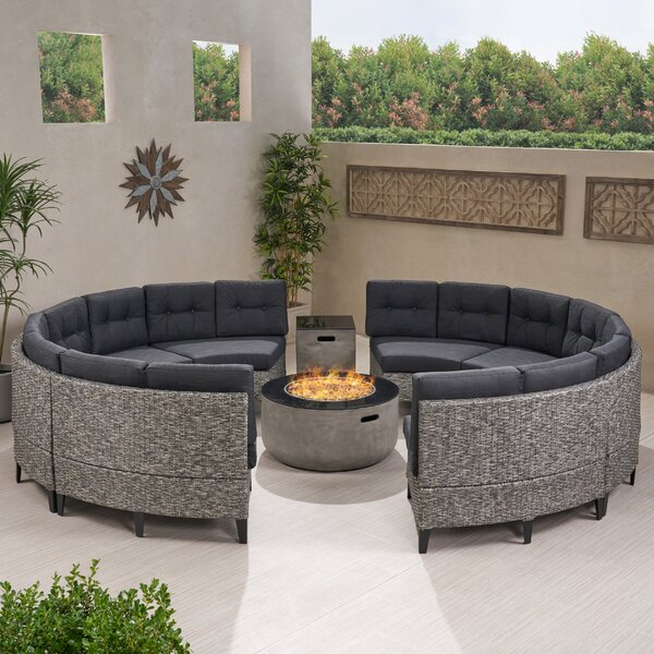 Detroit 10 Piece Rattan Sectional Seating Group with Cushions by Brayden Studio