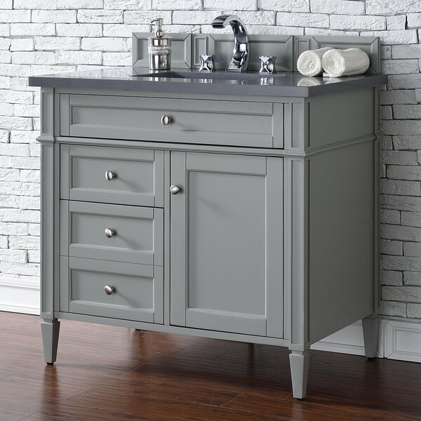 Deleon 36 Single Urban Gray Quartz Top Bathroom Vanity Set by Darby Home Co