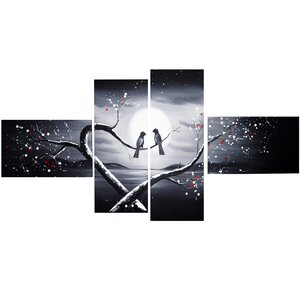 Love Birds in Love 4 Piece Graphic Art on Wrapped Canvas Set by Design Art