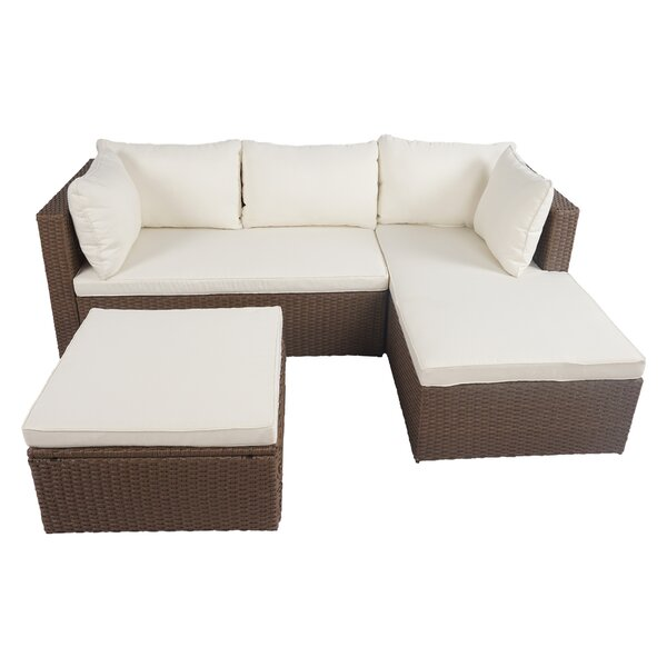 Altis 3 Piece Rattan Sectional Seating Group with Cushions